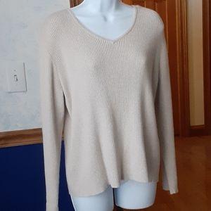 Karen Scott tan heather ribbed v-neck sweater